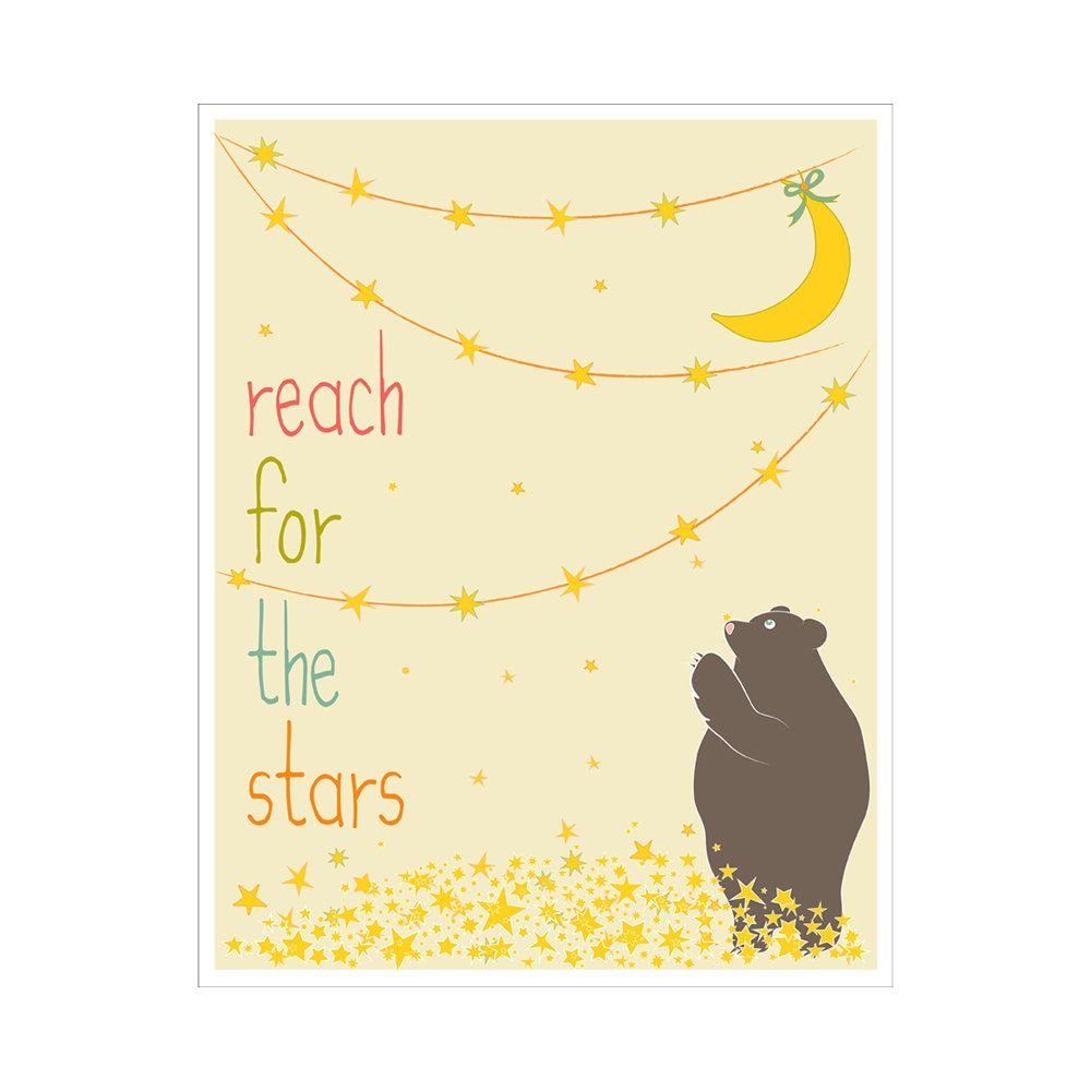Children\'s Wall Art / Nursery Decor Reach for the Stars 8x10 inch ...