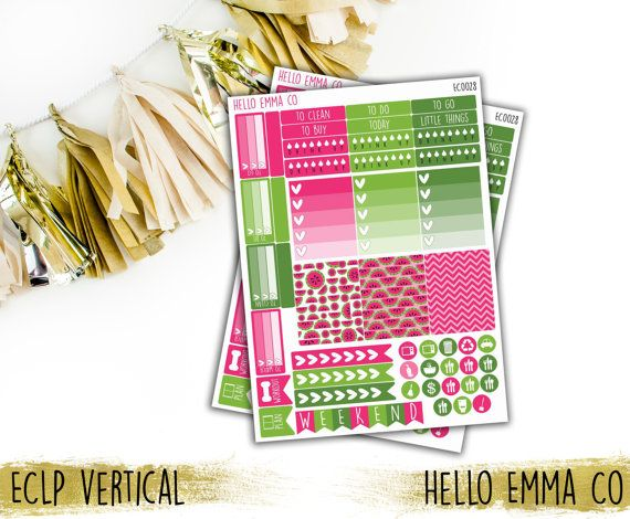 46+ Watermelon Weekly Sticker Sheet [EC0028, EC0028-H, HP0028], Planner Stickers, Erin Condren Stickers, Happy Planner Stickers