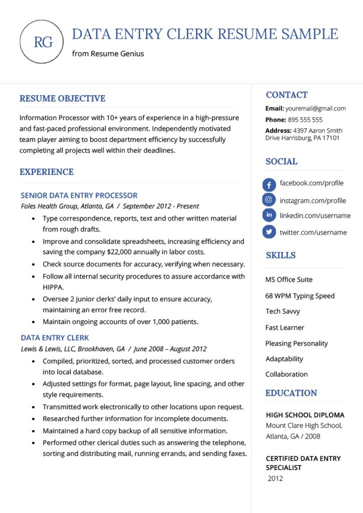 Data Entry Clerk Resume Example Template Resume Template Australia Data Entry Clerk Job Resume Examples
