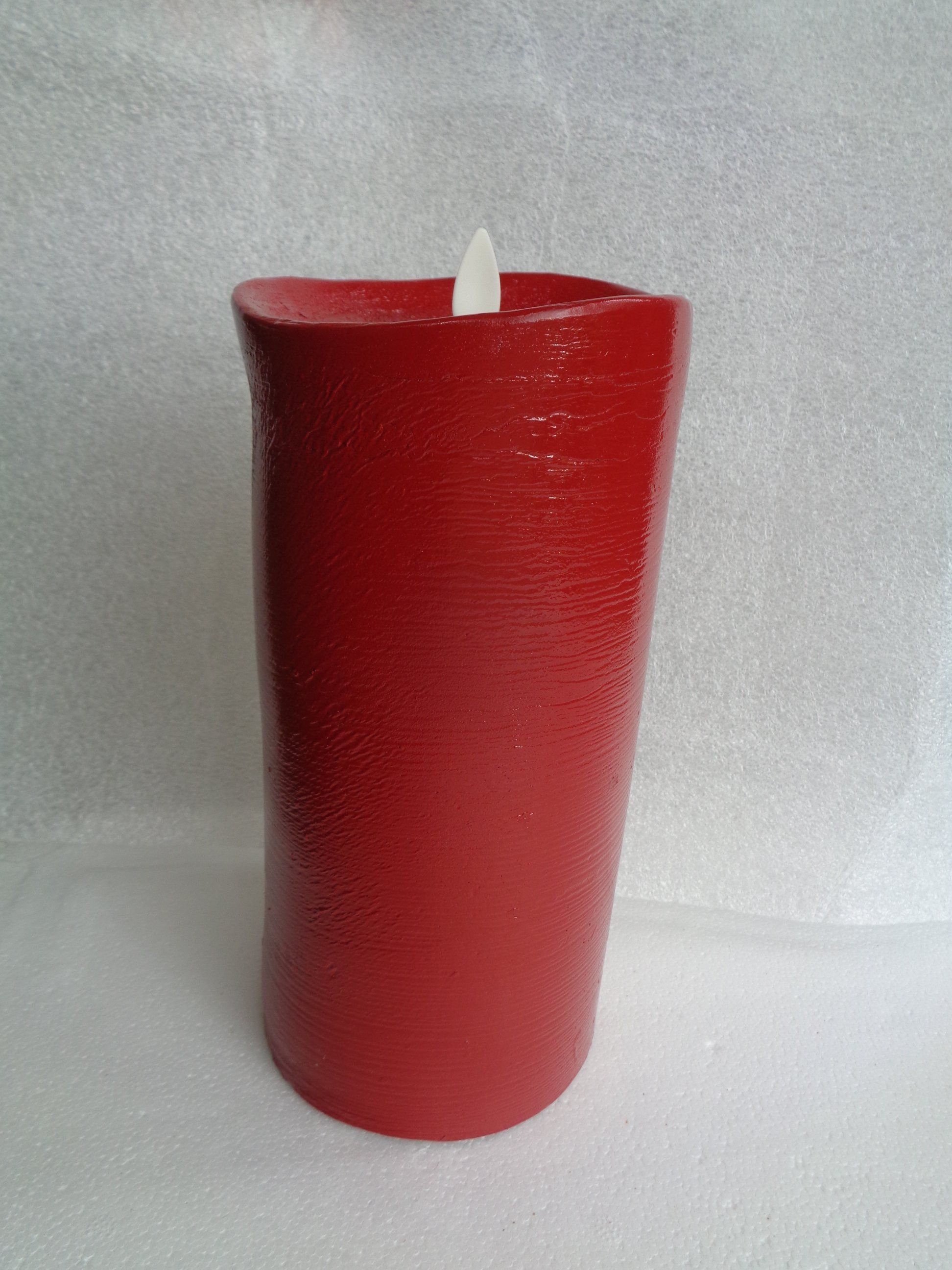 """Custom Luminara 9"""" Red Flameless Candle with Remote ..."""