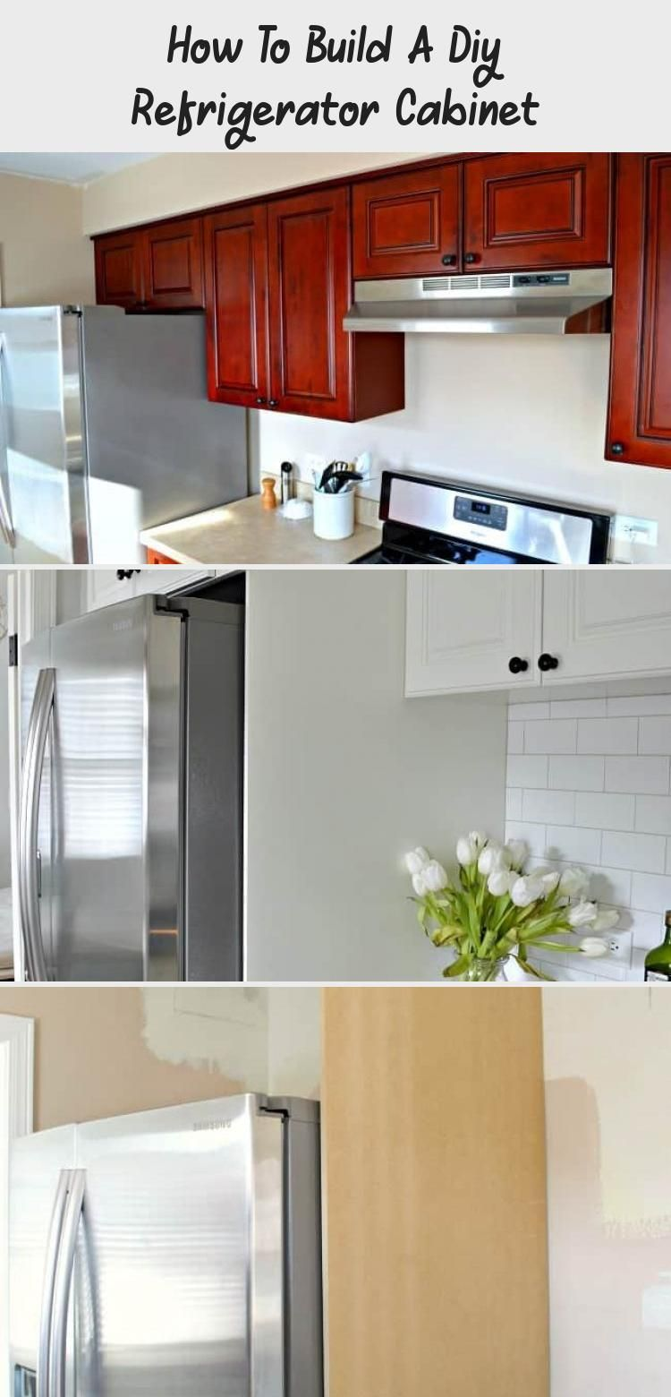 A DIY refrigerator cabinet makes a kitchen look more ...