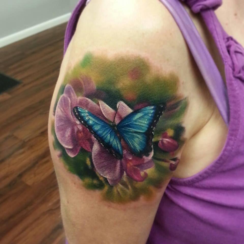 Kyle Cotterman Tattoos Dayton Flower Tattoo Shoulder Butterfly