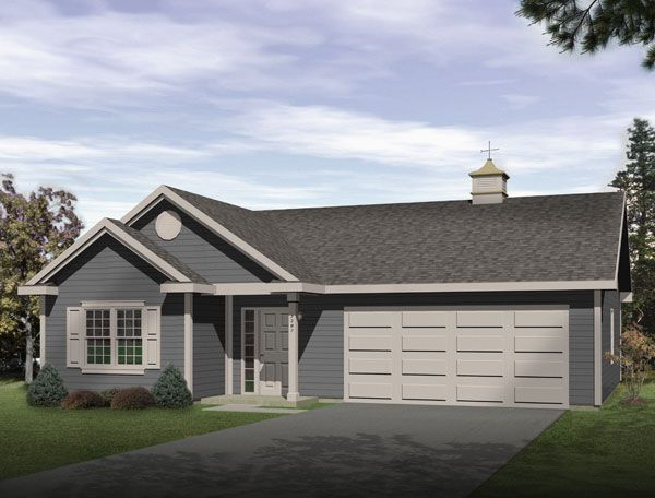 Ranch Style 2 Car Garage Apartment Plan Number with 1 Bed 1 Bath