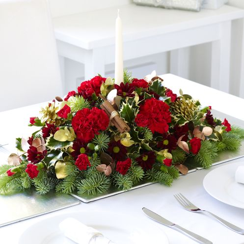 Christmas Table Centre With Candle Christmas Flowers Candle Arrangements Christmas Flower Delivery