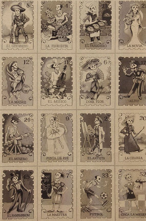 Folklorico Cartas Day of the Dead Loteria Style by TheCraftyTree, $10.50