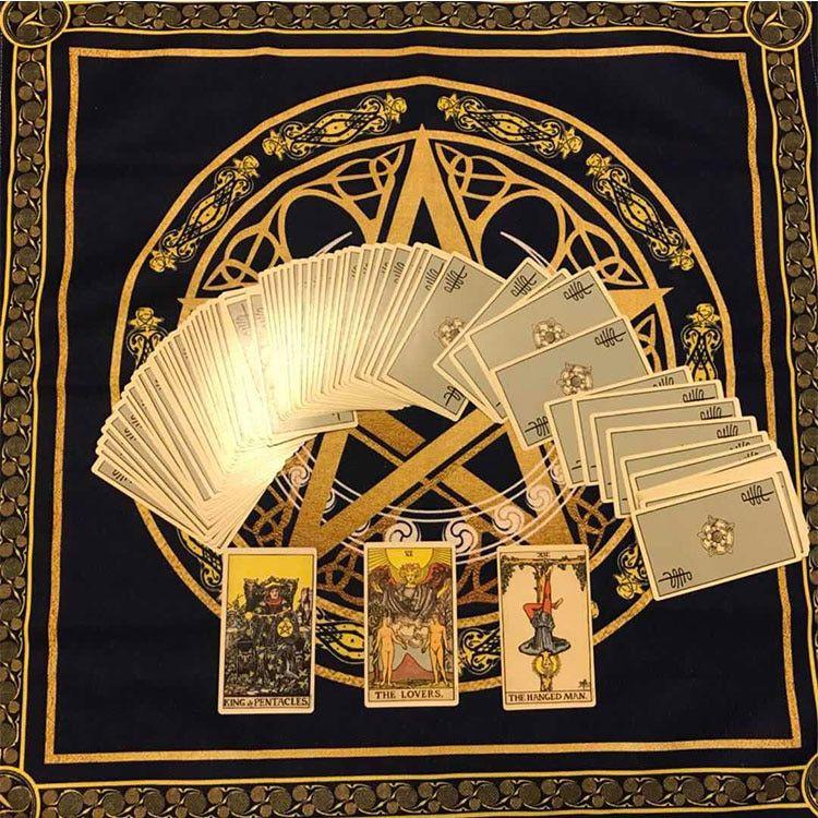 49x49cm Tarot Accessories Tarot Tablecloth Triple Moon Pentagram ...