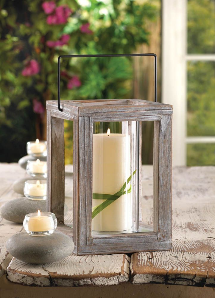 glass rustic wooden candle lantern - Outdoor Candle Lanterns