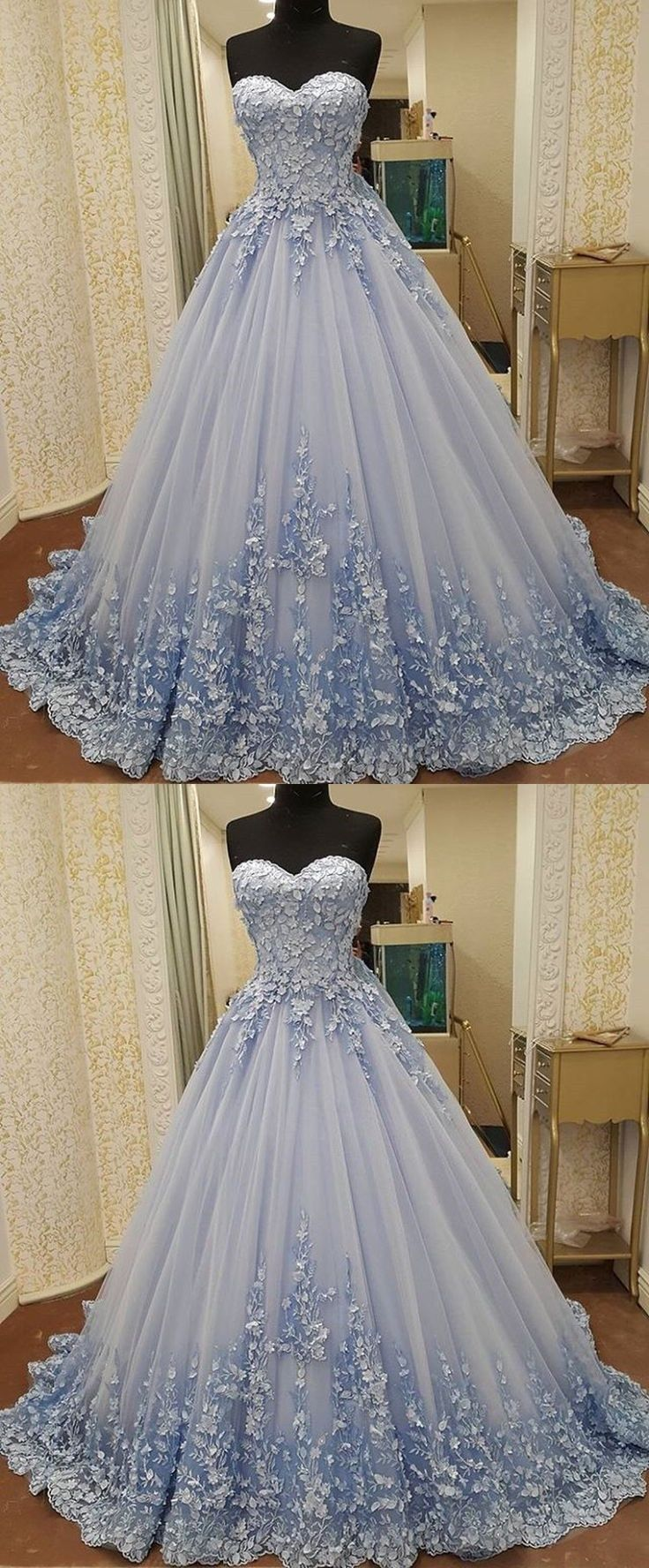 Elegant Sweetheart Ball Gowns For Sweet 16 Blue Quinceanera Dresses With Appliques Elegant Prom Party Gow Prom Dresses Lace Ball Gowns Prom Prom Dresses Long [ 1776 x 736 Pixel ]