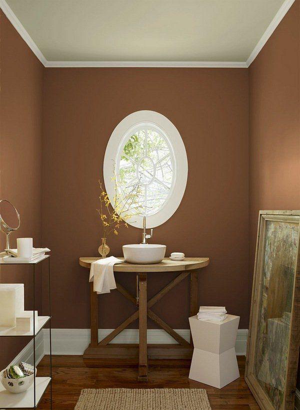 Modern Bathroom Colors Chocolate Brown Wall Color Wood Flooring White Vessel Sink
