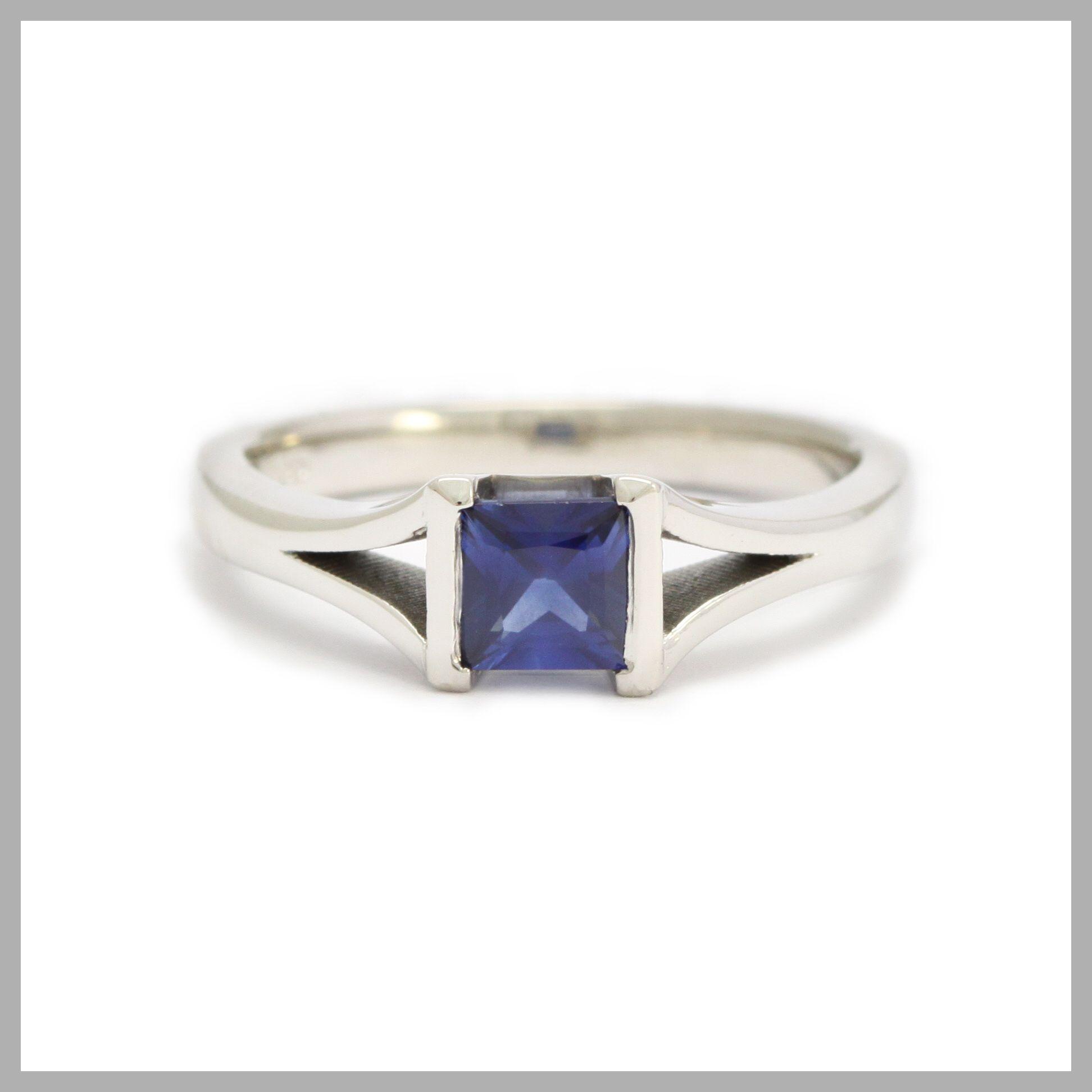 Sapphire Handmade Bespoke Statement Ring Silver Gold Platinum Palladium Contemporary Statement Ring Princess