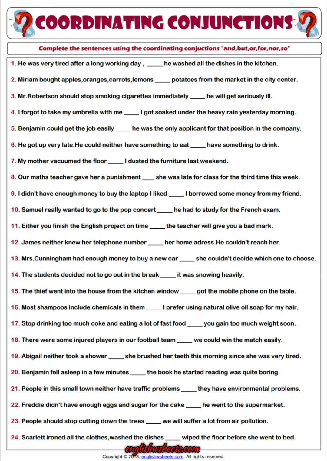Worksheets Esl Grammar Worksheets coordinating conjunctions esl printable grammar worksheet 2 worksheet