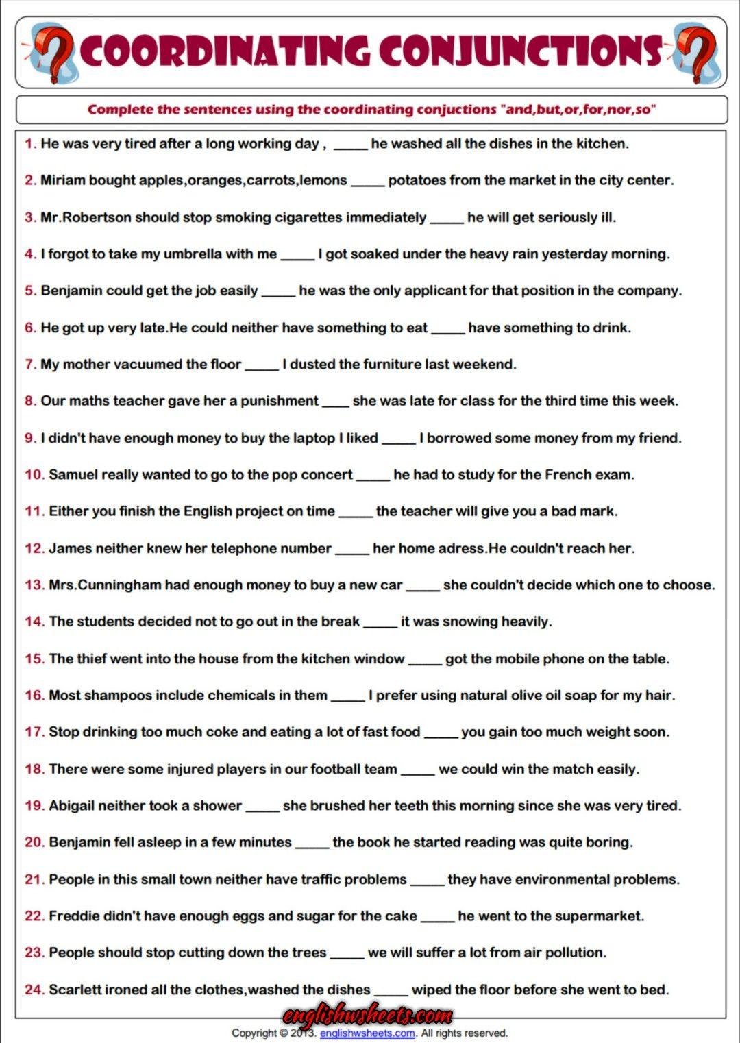 Coordinating Conjunctions Esl Printable Grammar Worksheet