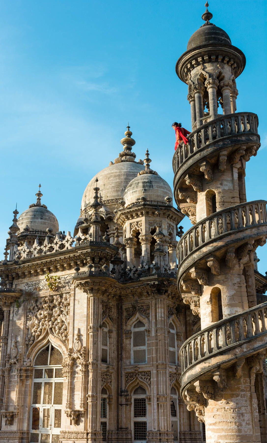 the spiral minarets of the mahabat maqbara in junagadh, a city in