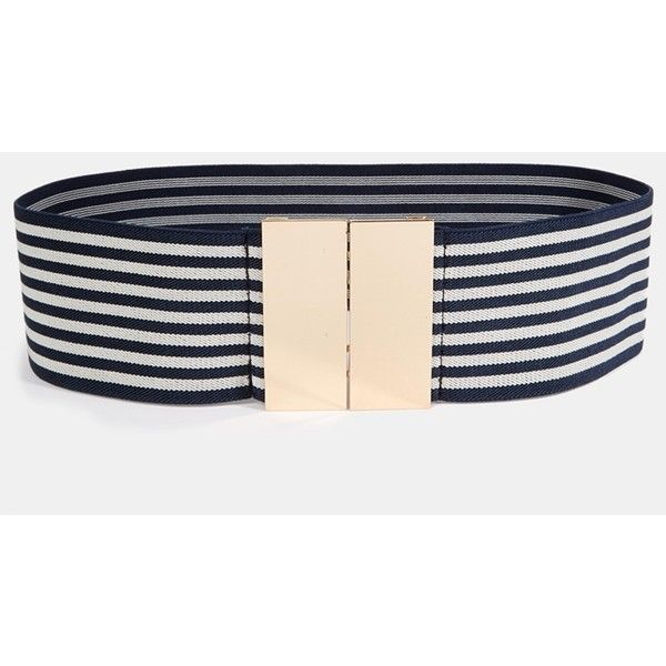 3596364bb3 River Island Navy and White Stripe Wide Elastic Belt ($14) ❤ liked ...