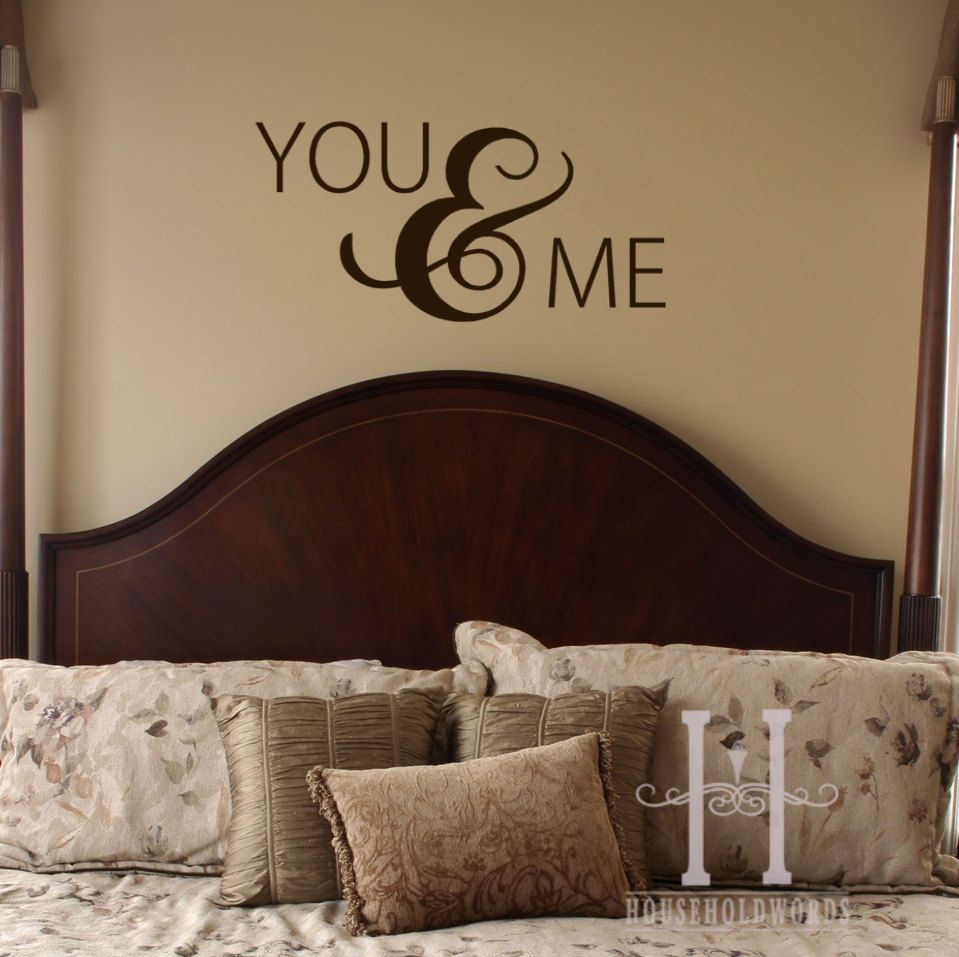 Master bedroom wall decor stickers  You and Me Vinyl Wall Decal words with large ampersand Valentines