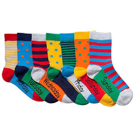 Days Of The Week Socks John Lewis Boy Days Of The Week Socks Pack Of 7 Multi