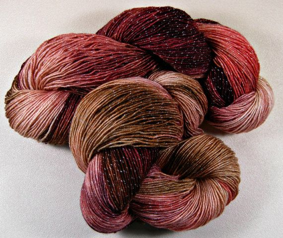 Burgundy Coral Hand-dyed Superwash Merino/Lurex Yarn by yarnwench