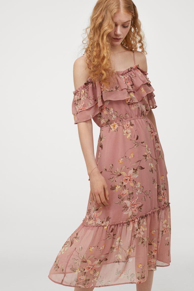 Open Shoulder Dress Dusty Rose Floral Ladies H M Ca In 2020 Niedliche Sommerkleider Sommerkleid Kleid Altrosa