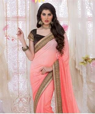 Chinon Silk Saree with Blouse | I found an amazing deal at fashionandyou.com and I bet you'll love it too. Check it out!