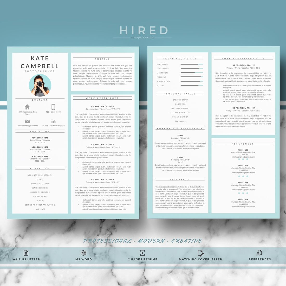 Pin de Hired Design Studio en Resume Templates for MS Word | Pinterest