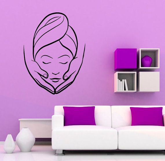 Spa beauty salon wall vinyl decal massage sticker girl for Stickers design salon