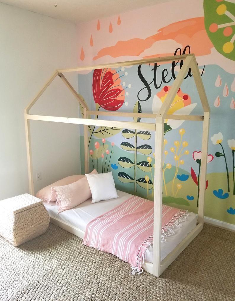 Hardwood Montessori Twin, Full, Toddler House Bed Frame