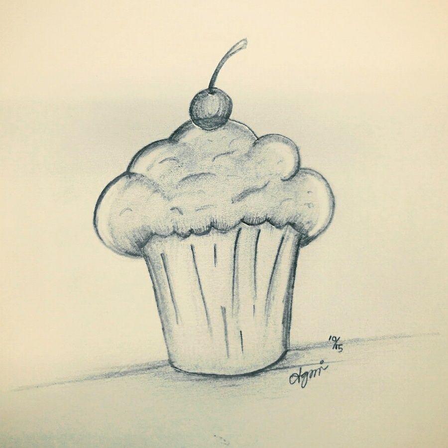 Sketsa Cupcake Pensil Diatas Kertas