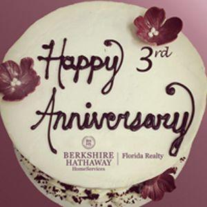 Happy 3rd Anniversary Berkshire Hathaway Homeservices Florida Realty Berkshire Hathaway Homeservices Florida Realty Happy Anniversary Cakes Happy Marriage Anniversary Cake Marriage Anniversary Cake