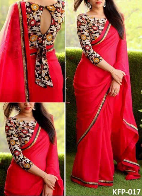 Buy Georgette Red Replica Saree Designer Saree Blouse Patterns Blouse Designs Indian Indian Saree Blouses Designs