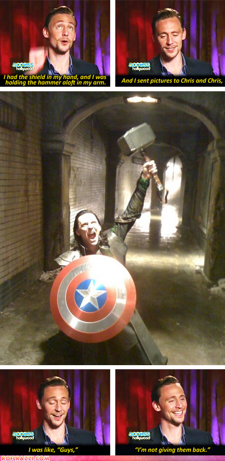 Loki has Mjolnir AND Cap's shield. Your argument is invalid.