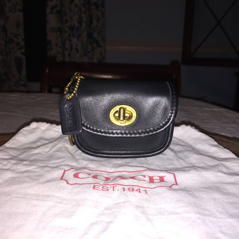 2dd597754b VINTAGE COACH MINI City Bag Key Case Black Leather W Dust Bag Hang Tag by