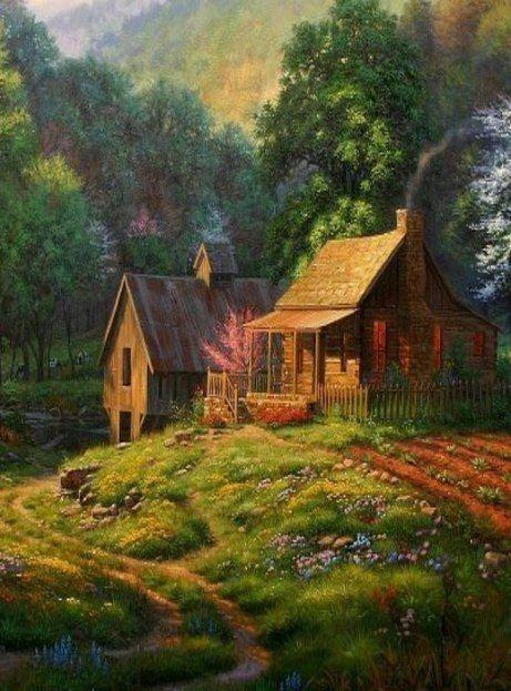Cabin & Barn...Painting | Log Cabins | Art, Home art ...