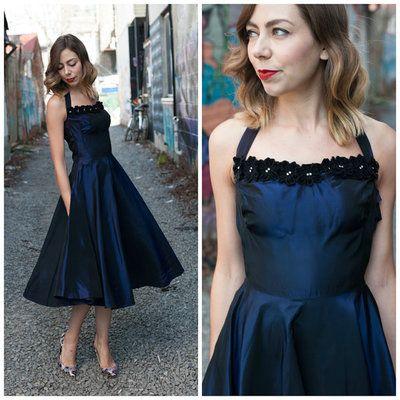 1950\'s Deep Navy Formal Dress,1950\'s Prom Dress,Full Circle Skirt ...