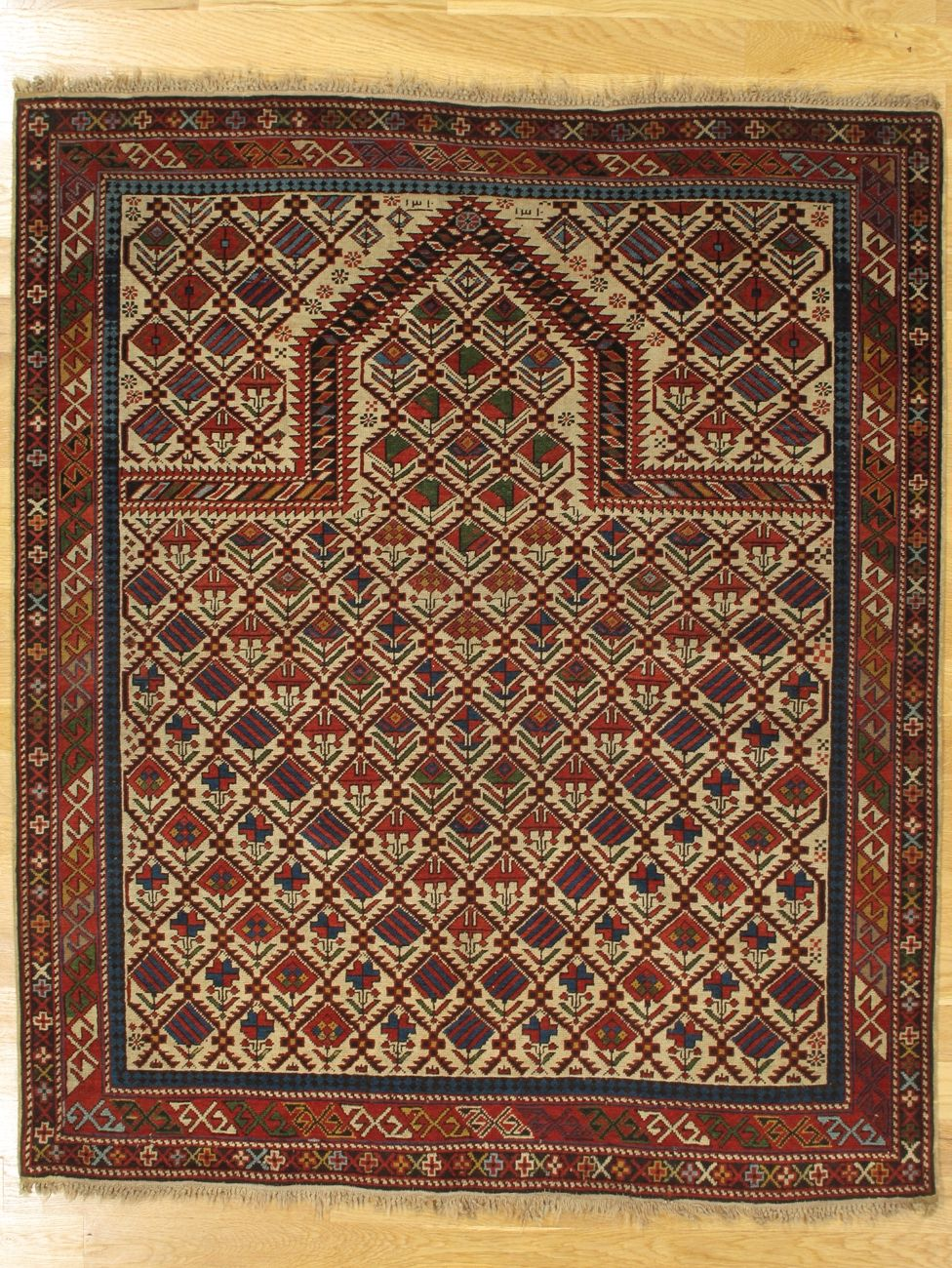 Shirvan Prayer Rug From Eastern Caucasus West Coast Of The Caspian Sea Age Dated 1310 1892 Size 5 2 X4 4 157x132 Cm Persian Rug Rugs Rugs On Carpet