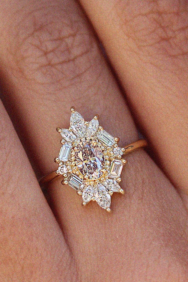 Great Gatsby Art Deco Oval Diamond Unique Engagement Ring Art Deco Engagement Ring Deco Engagement Ring Rose Engagement Ring