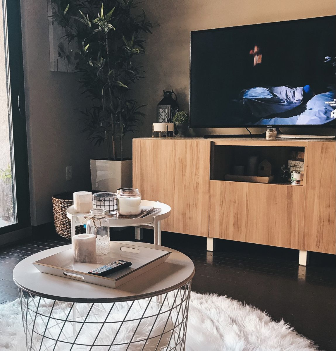 DIY - Customized TV Stand from IKEA #modernfarmhousedecor #diy #ikea #home #homedecorideas #inspiration #inspohome #inspoforhome #aesthetic #house #houseplants #tvstandideas #white #wood