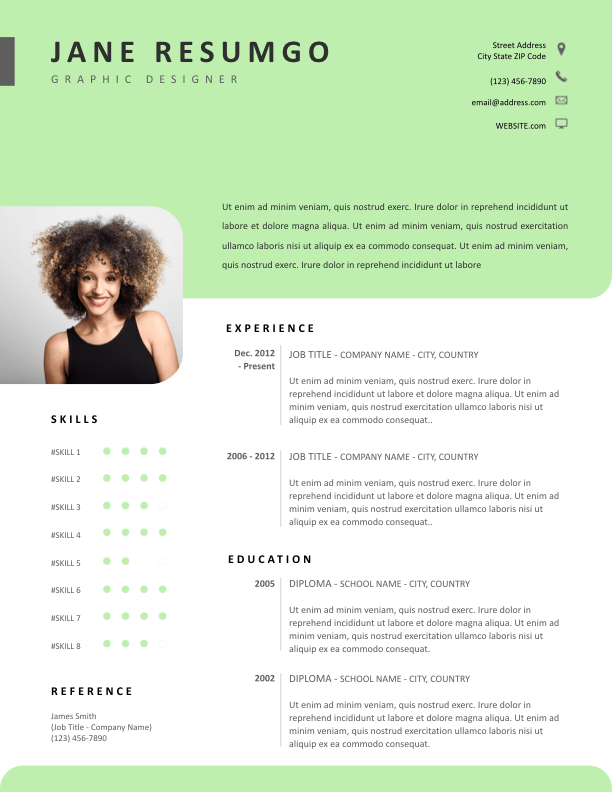 Diantha Resume Template With Clean Light Green Header Resumgo