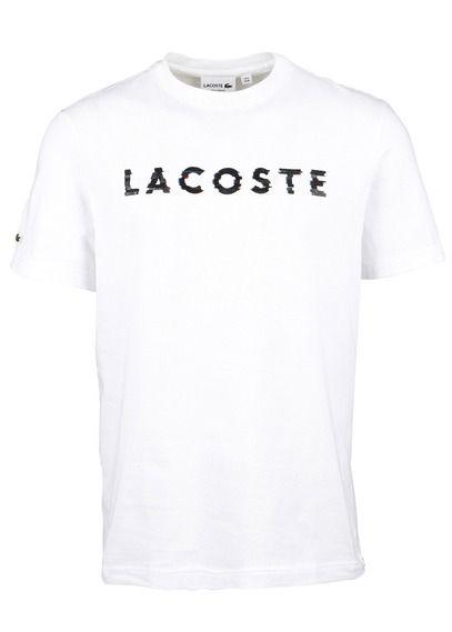 bec8ddea30 Tee-shirt col rond slim-fit sérigraphié en coton Blanc by LACOSTE ...