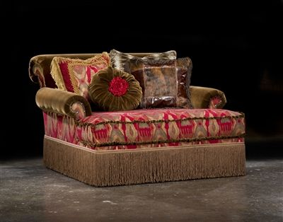 Red Chaise High Style Leather Fabric Upholstered