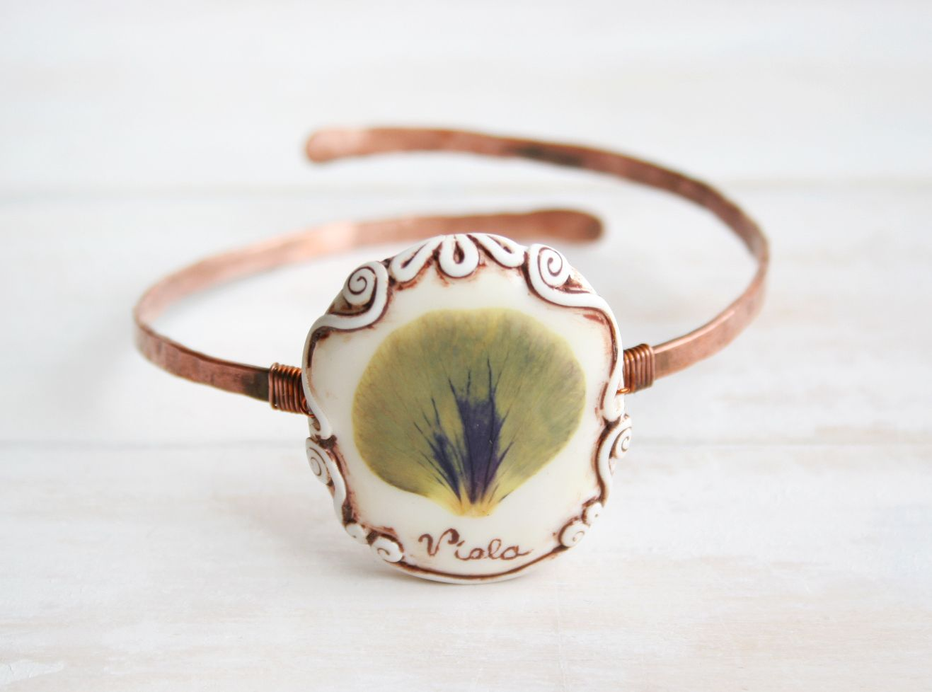 Real flower and copper bracelet handcrafted shabby design jewelry