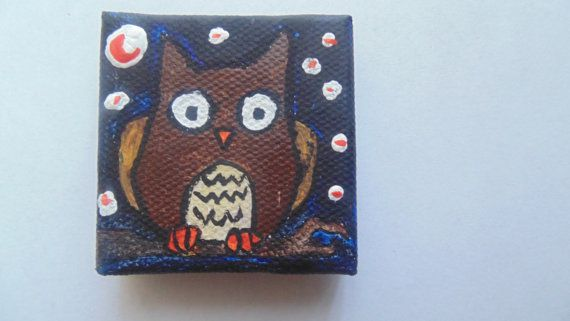 Handmade Owl Magnet available at yumjellydonuts.etsy.com