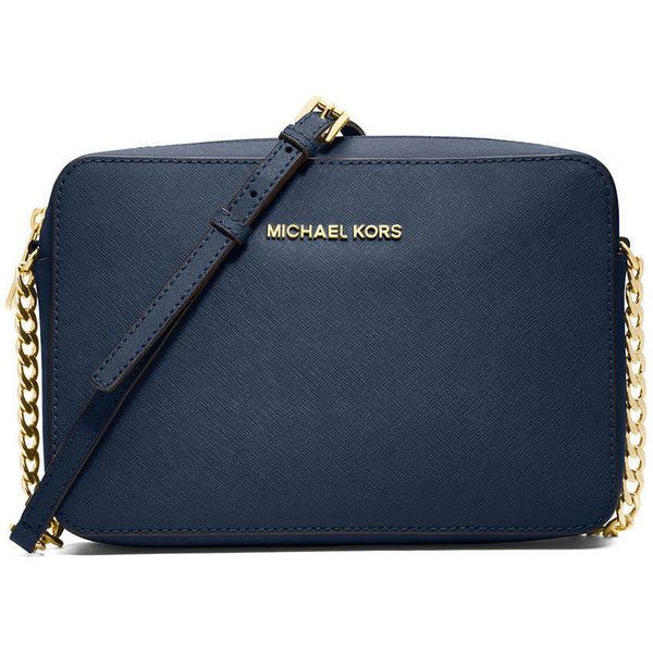 MICHAEL Michael Kors Jet Set Travel Large Saffiano Crossbody Bag (1.330 NOK) ❤ liked on Polyvore featuring bags, handbags, shoulder bags, purses, me, michael kors, sac, navy, hand bags and purse crossbody