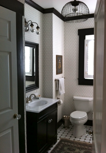 Penny Tile All The Way To The Ceiling And Black Trim