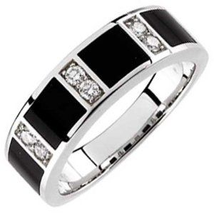 14Kt White Gold Charming Black Onyx and Diamond Mens Wedding Band