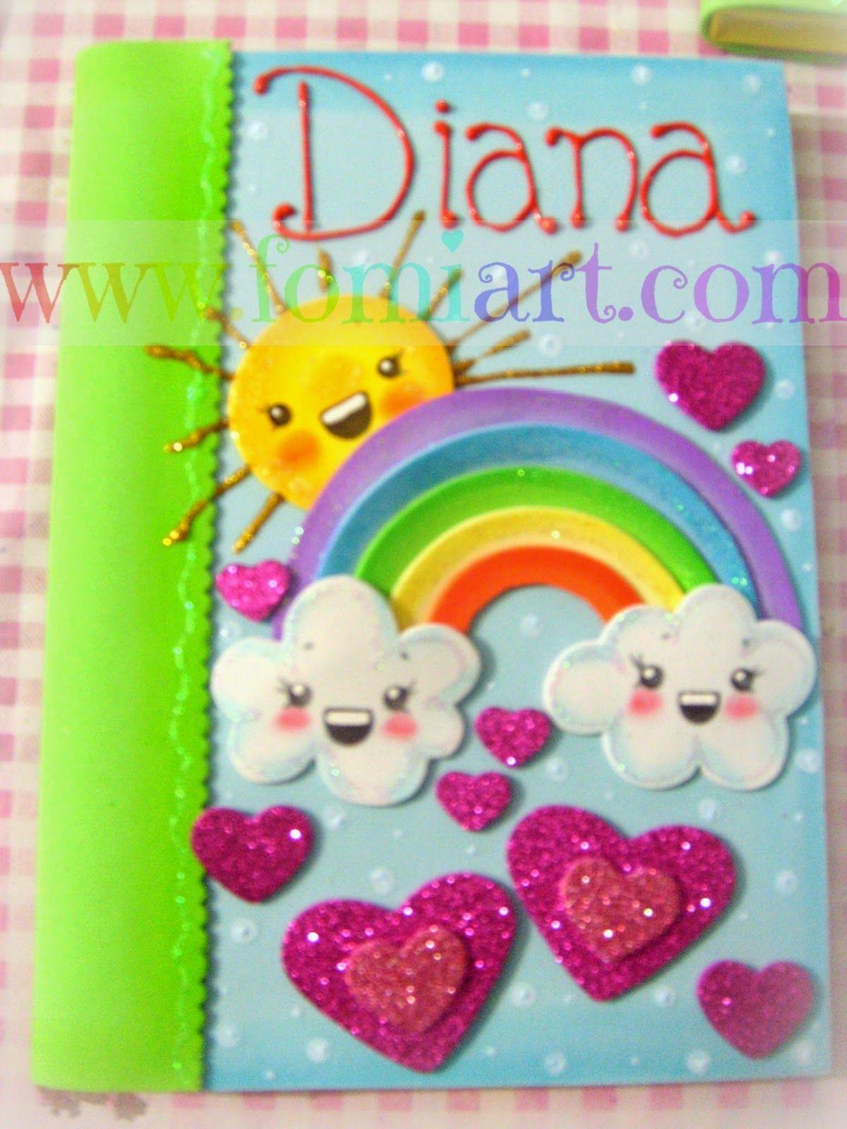 Libreta decorada de arco ris fomiart carpetas con for Caja de colores jardin infantil