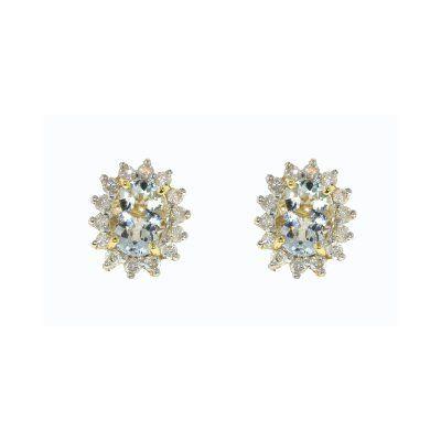 Finesse Fine 9k Yellow Gold Aquamarine & Diamond Oval Earrings