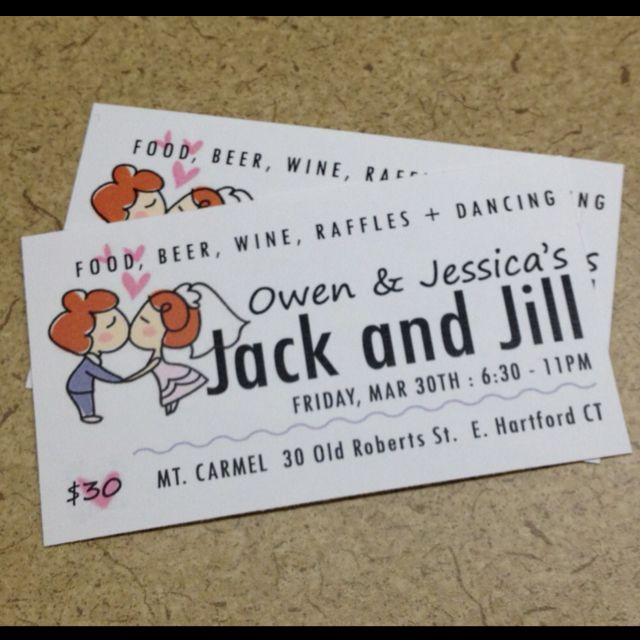 Simple Business Card Sized Tickets For Jack And Jill Party