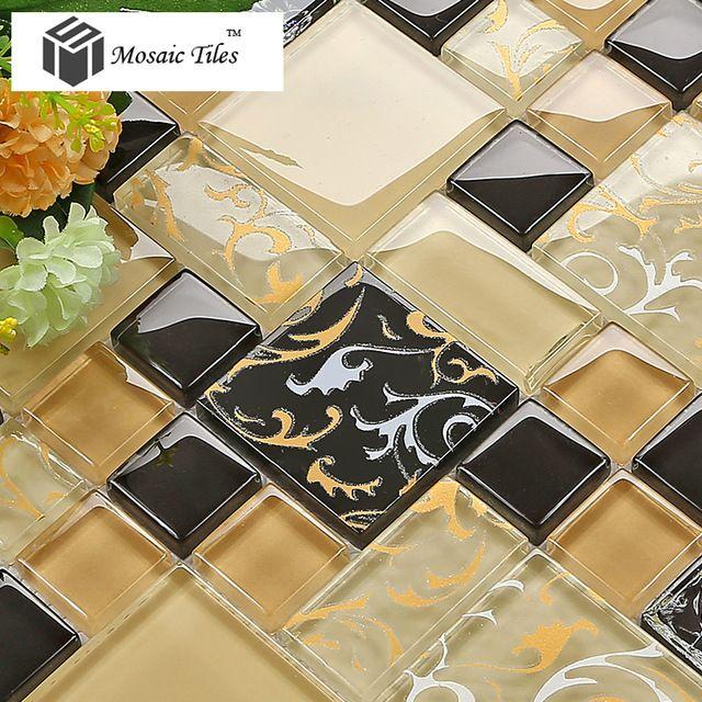 Floral de la cocina backsplash baldosas de vidrio mosaicos arte baño ...