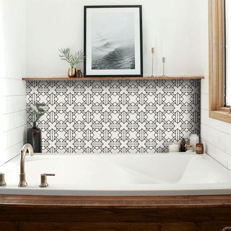 Kitchen And Bathroom Splashback Removable Vinyl Wallpaper Antioche Peel Stick Bathroom Splashback Bathrooms Remodel Vinyl Tile