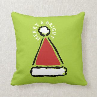 Funny Red Santa Hat Merry Bright Holiday Throw Pillow